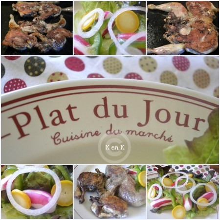 Plat du Jour - recette des Cailles à la planche et sa salade fraîcheur