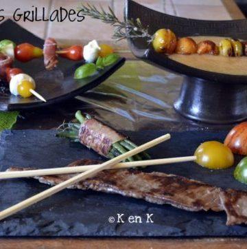 recette des Brochettes en entrée, plat et dessert cuit à la plancha, un menu entier avec viande, légumes bio, fruits bio et soupe de melon