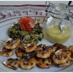 Recette Express de brochettes de crevettes marinées aux courgettes bio cuitent à la plancha