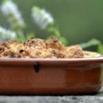 Une recette de dessert-crumble rhubarbe pomme