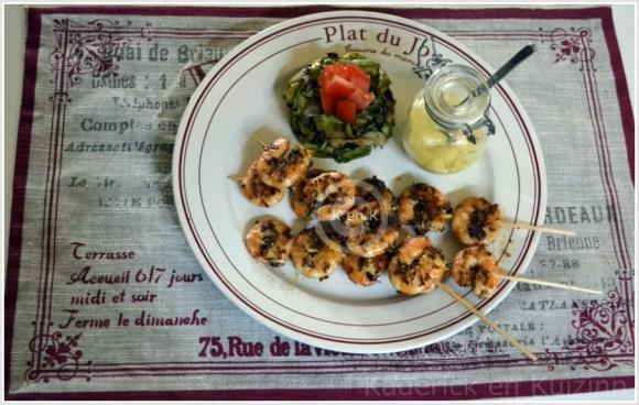 Plat du jour-recette des brochettes crevettes marinées au citron avec des épices