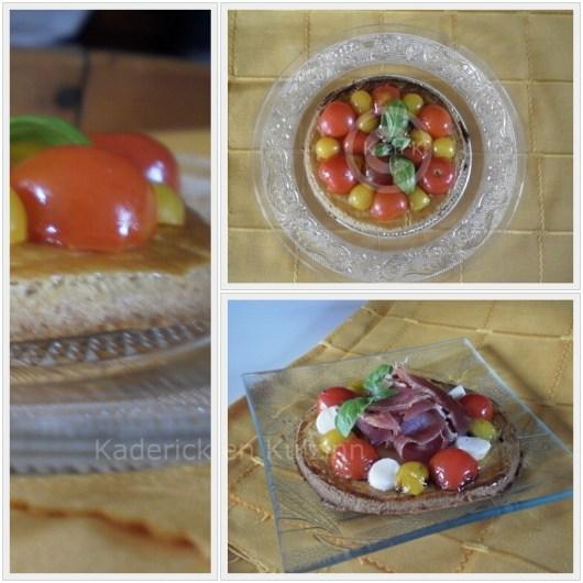 Recette mini tartelette tomates cerises bio pour une entrée servi avec une feuille de basilic