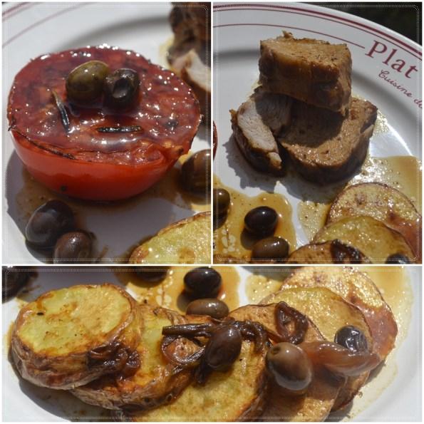 Recette Noël-Rôti de veau avec des pommes de terre, tomate et olives