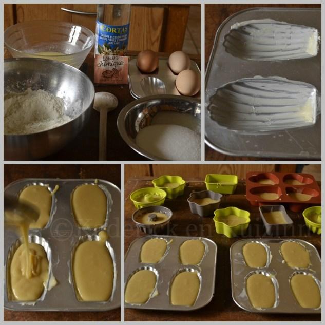 Préparation et ingrédients des Madeleines à la fleur d'oranger cuites dans différents moules