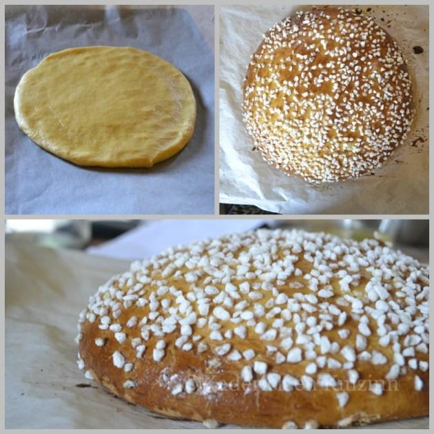 Préparation de la tarte tropézienne avant le découpage
