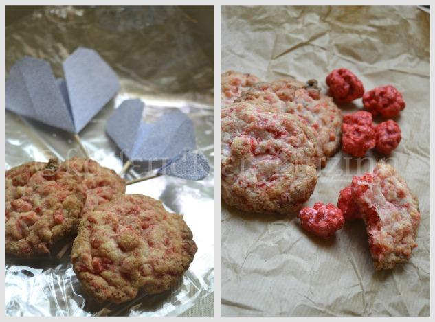 Recette des Cookies aux pralines présenté sur un papier craft avec des coeurs en origami