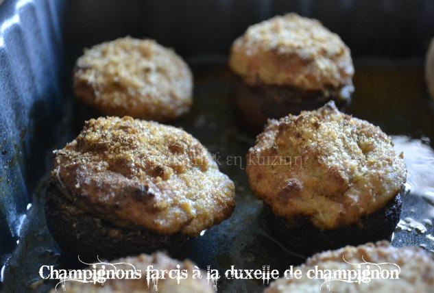 Recette de légumes, des champignons farcis à la duxelle de champignon de Paris bio, recette petits prix
