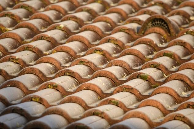 """Photo des tuiles du toit en perspective toutes gelées pour le thème du projet photo """"vivre la photo"""""""