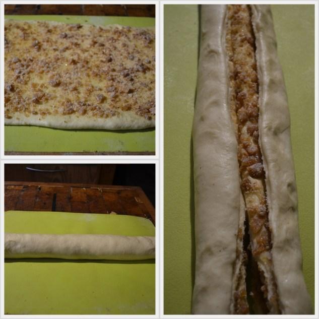 Pliage du Kringle Estonien à la nougatine avec une pâte briochée et de la nougatine aux amandes et aux noisettes