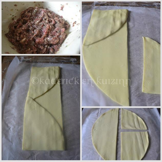 Pliage pâte feuilletée pur beurre et farce du pâté de Pâques