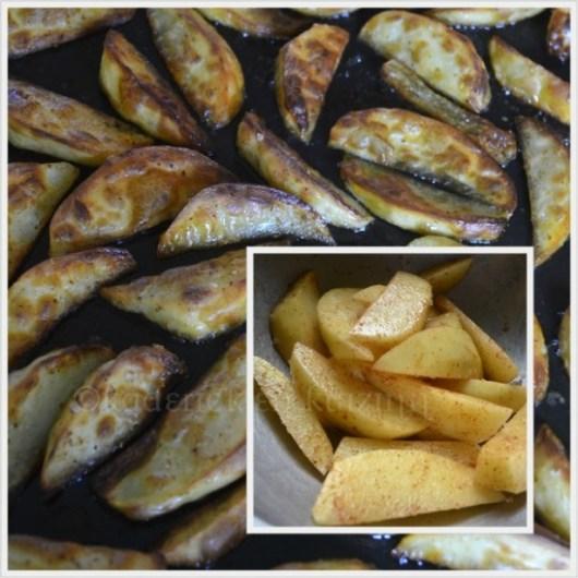 Recette Américaine des potatoes epicees cuitent au four avec de l'huile d'olive ou de la graisse de canard