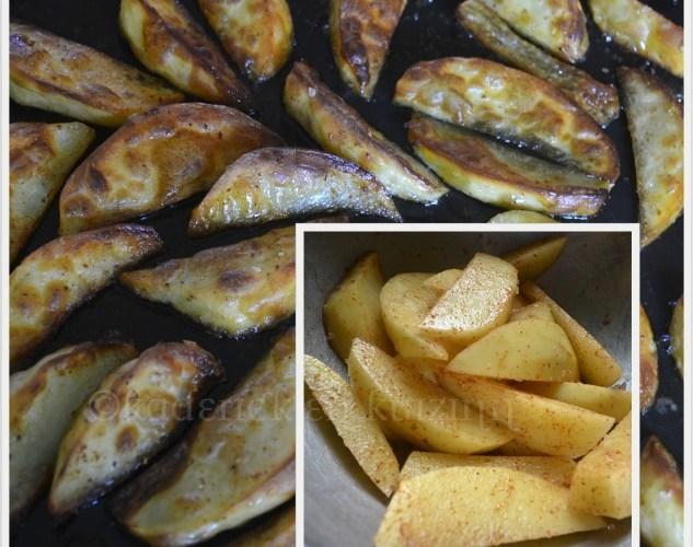 Recette Américaine des potatoes épicées cuitent au four avec de l'huile d'olive ou de la graisse de canard
