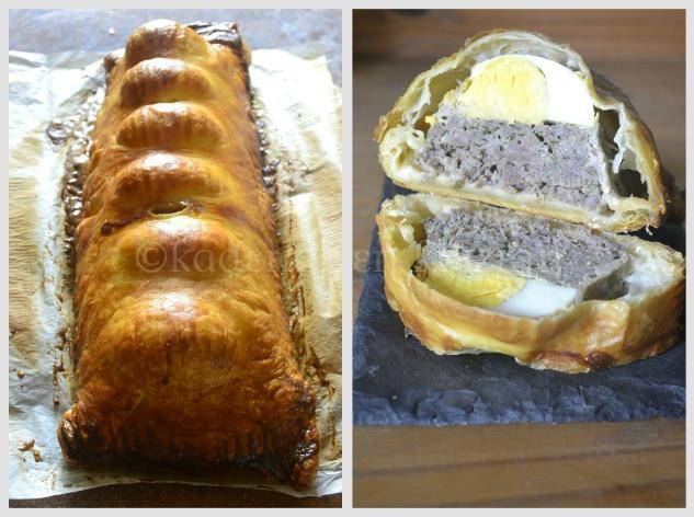 Présentation du pâté de Pâques avec une farce et des oeufs durs