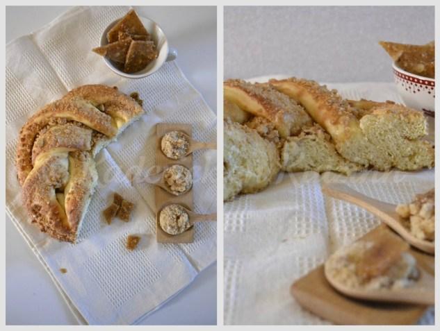 Recette du Kringle Estonien à la nougatine servi avec des morceaux de nougatine aux amandes et noisettes