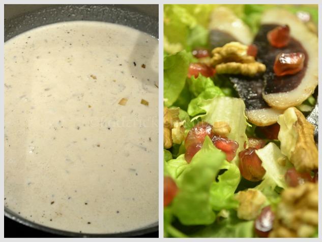 Préparation de la sauce à la crème fraîche et de la salade de grenade et magrets séchés