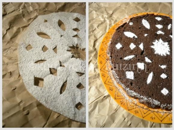 Gâteau au chocolat cannelle avec un décor au sucre glace aux formes géométriques, un dessert économique