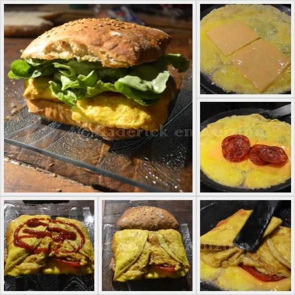 Recette de l'hamburger à l'omelette et au chorizo faites avec des oeufs bio