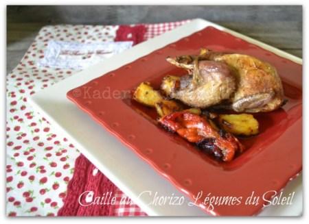 Recette caille au chorizo et légumes du soleil avec poivron rouge et pomme de terre