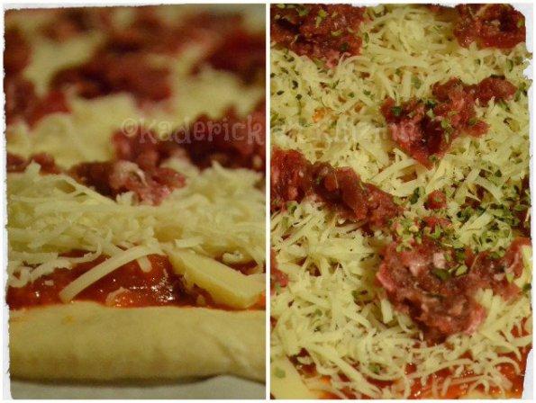 Préparation de la pizza maison au suteak haché avec une pâte maison