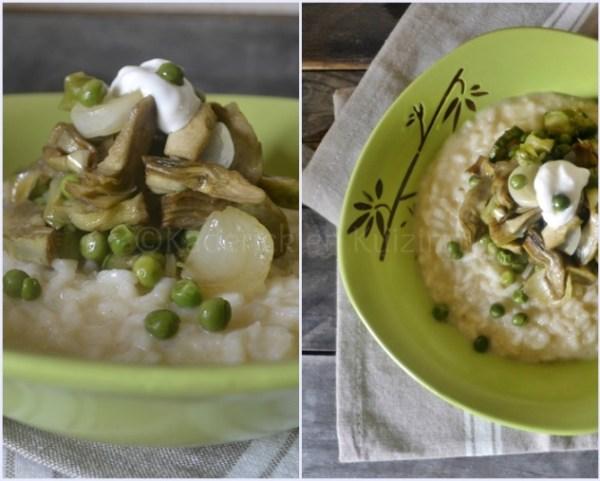 Recette du risotto légumes bio printaniers avec des petits pois, courgettes et artichauts