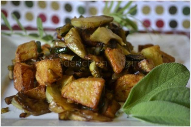 Préparation de la recette poelee de pomme terre, courgette et artichaut