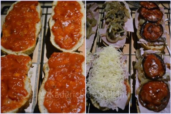 Préparation des bruschettas jambon ou chorizo garnies d'une sauce tomate maison