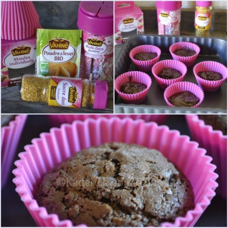 Préparation des cupcakes chocolat framboise avec des produits vahiné