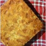 Recette du gâteau moelleux aux pommes de Jackie présenté sur un torchon à carreaux rouge et blanc