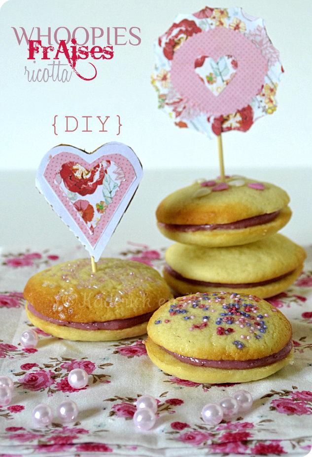 Recette de whoopies ricotta fraises {DIY} recouvert avec des perles de couleurs vahiné et décoré avec des fanions roses