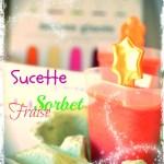Effets seventies, sucette de sorbet à la fraise avec des couleurs flashies, vertes, orange, roses...