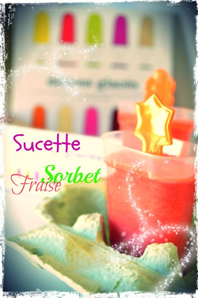 Effets seventies, sucette au sorbet à la fraise avec des couleurs flashies, vertes, orange, roses...