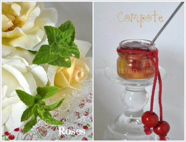 Décoration avec des roses blanches et compote fruits bio pour une ambiance romantique