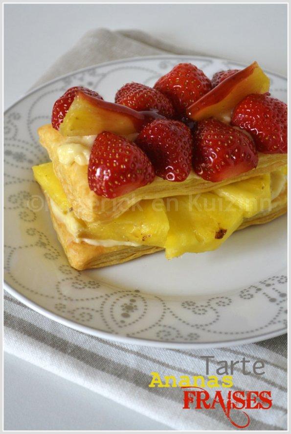 Dégustation de la tarte fruits feuilletée à l'ananas et fraises bio dessert tout en couleur et légèreté