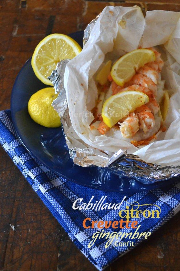 Dégustation papillote de cabillaud et crevettes au gingembre confit pour une recette de poisson légère