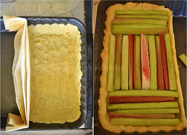 Préparation tartelette rectangulaire à la rhubarbe bio avec une pâte brisée maison recouverte de compote à la rhubarbe