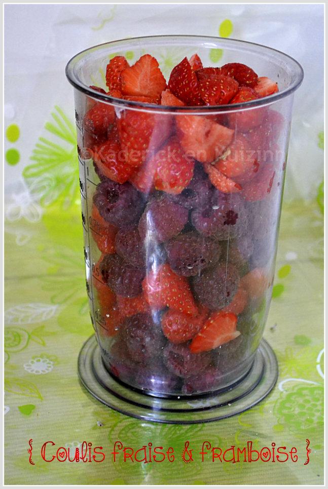 Recette du coulis de fraise & framboise bio pour accompagner le sorbet à la pêche jaune bio