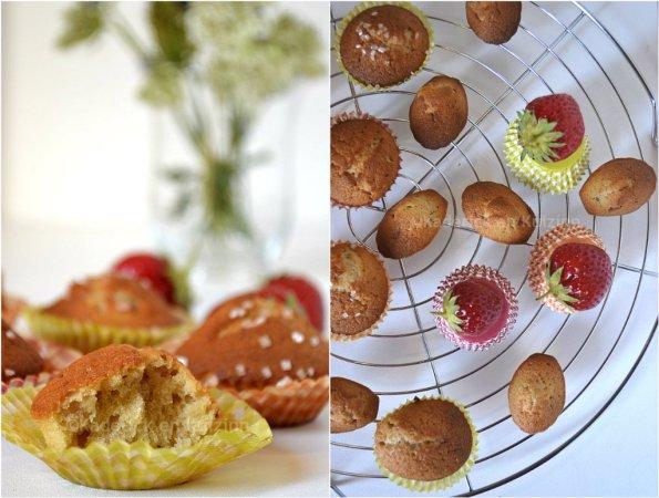 Ronde de gateaux moelleux, madeleines et muffins aux fraises bio présenté sur une grille ronde