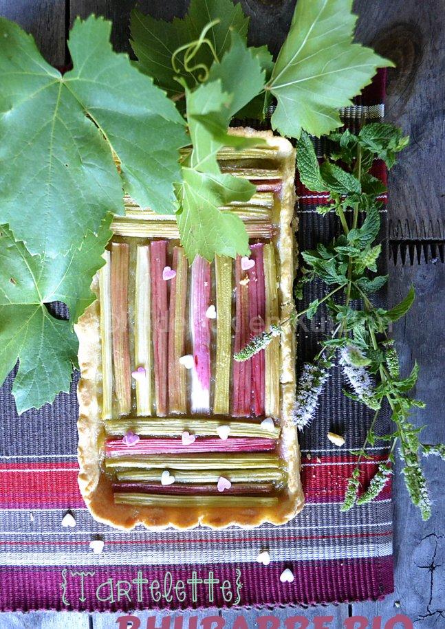 Tartelette rhubarbe bio avec une pâte brisée maison et recouverte de compote pour Culino Versions