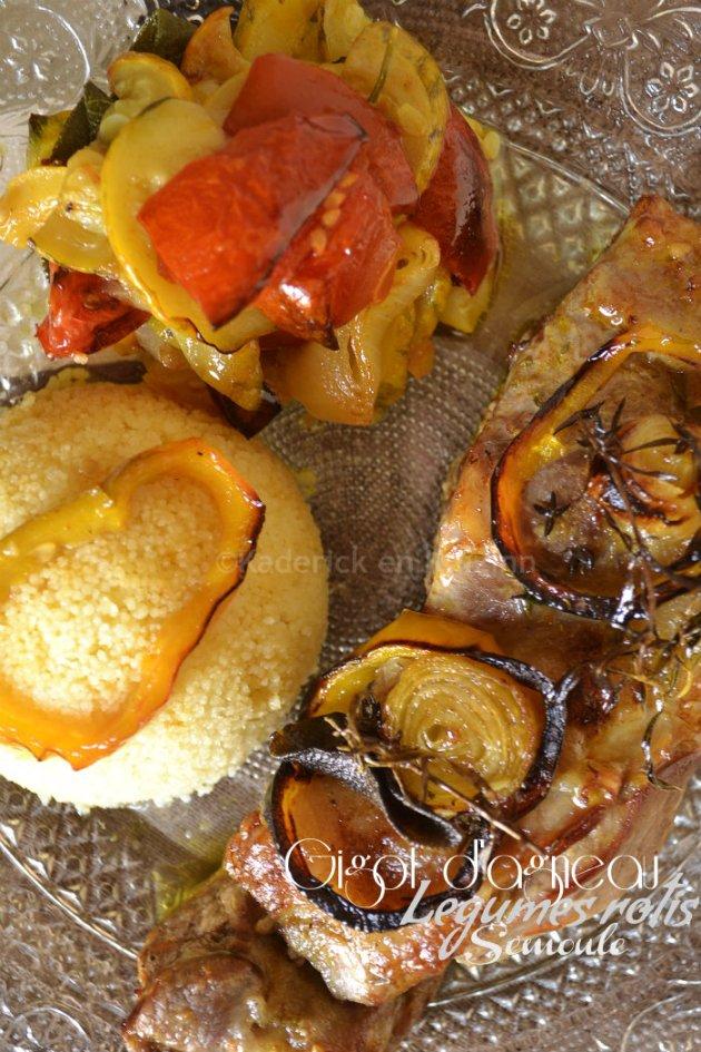 Bout gigot d'agneau aux légumes rôtis et semoule pour une inspiration de cuisine orientale