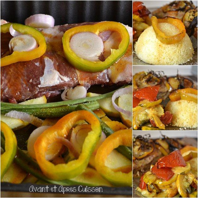 Cuisson gigot d'agneau épicé Tandoori, légumes bio rôtis, thym, sauge, romarin et semoule