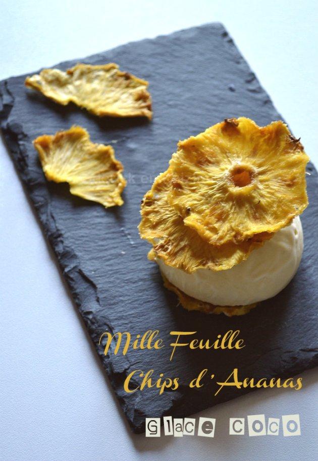 Dégustation mille feuille de chips d'ananas bio et glace coco, dessert des éditions solar sur Kaderick en Kuizinn©