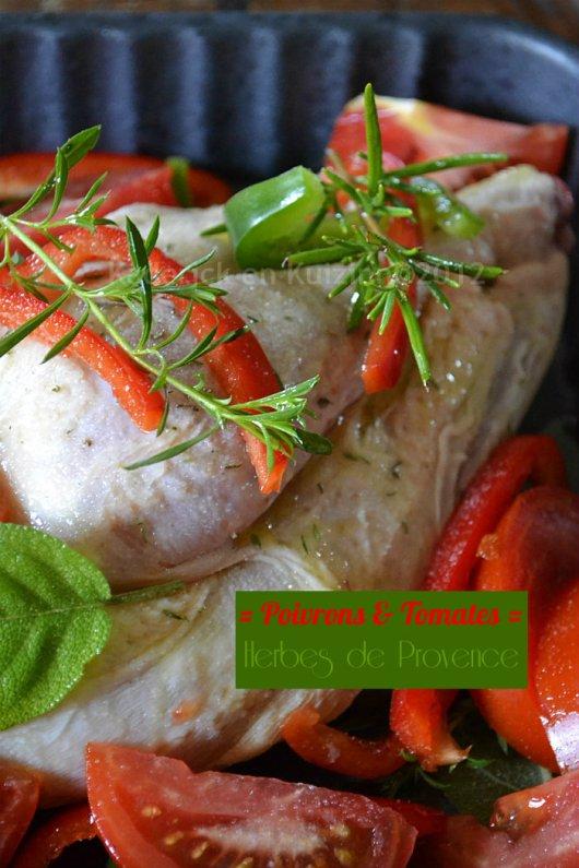 Dégustation Recette du dimanche poulet poivrons, tomates bio et herbes de Provence pour un repas du dimanche sur Kaderick en Kuizinn©