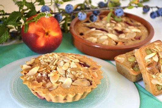 Recette dessert clafoutis praline, nectarines, amandes en forme de minis tartelettes Kaderick en Kuizinn©