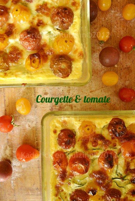 Recette facile flan au courgette, tomate cerise bio et mozzarella pour accompagner une viande ou un poisson sur Kaderick en Kuizinn©