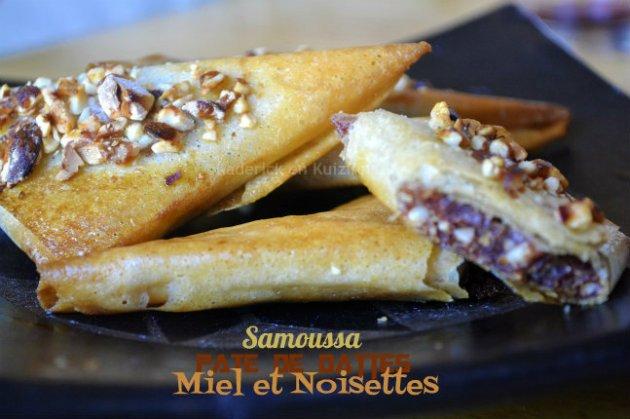 Recette Samoussas à la pâte de dattes, miel et noisettes pour un dessert de cuisine orientale