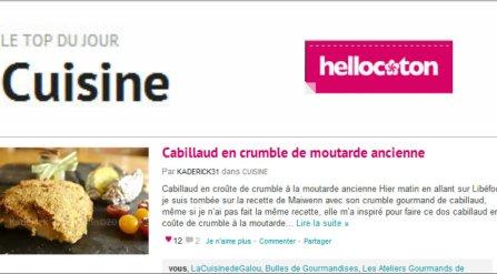 Top cuisine Hellocoton 05.09.12 dos de cabillaud en crumble à la moutarde ancienne - Kaderick en Kuizinn©