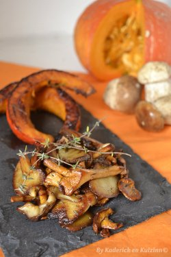 Cuisson de la recette des tranches de potimarron rôties et poêlée de cèpes et girolles pour Culino Versions - Kaderick en Kuizinn©