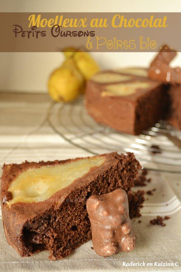 Dégustation du moelleux chocolat aux petits oursons guimauve® et poires bio - Kaderick en Kuizinn©
