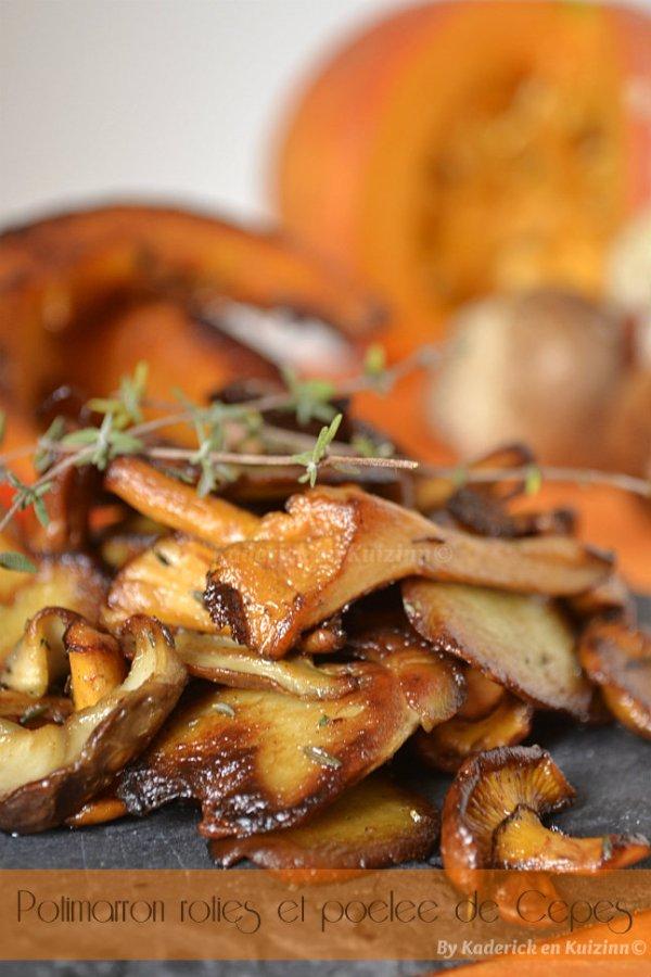 Dégustation de la recette des tranches potimarron rôties, poêlée de cèpes et girolles pour Culino Versions - Kaderick en Kuizinn©