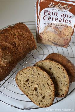 Ingrédients de la recette du pain rustique aux céréales de la marque Mon Fournil® farine offerte lors d'un partenariat - Kaderick en Kuizinn©
